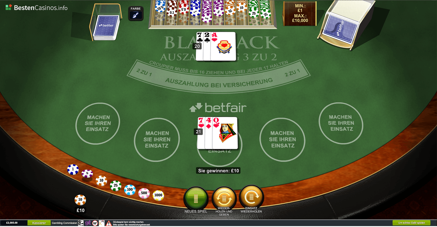 blackjack spielautomat